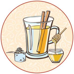 איור של משקה קינמון ודבש
